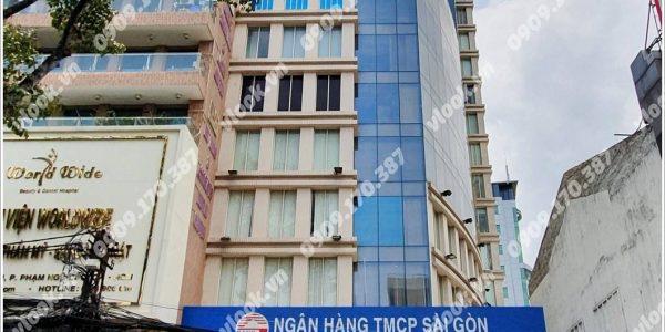 Mặt trước cao ốc cho thuê văn phòng SCB Building, Cống Quỳnh, Quận 1, TPHCM - vlook.vn