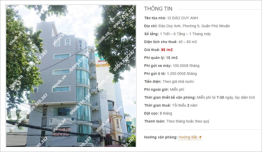Thông tin cơ bản về cao ốc văn phòng cho thuê 12 Đào Duy Anh, Quận Phú Nhuận, TP.HCM   vlook.vn