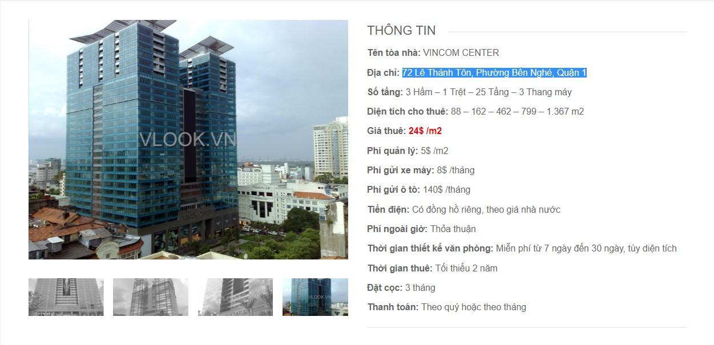 Danh sách các công ty đang thuê văn phòng tại Vincom Center, lê Thánh Tôn Quận 1 vlook.vn