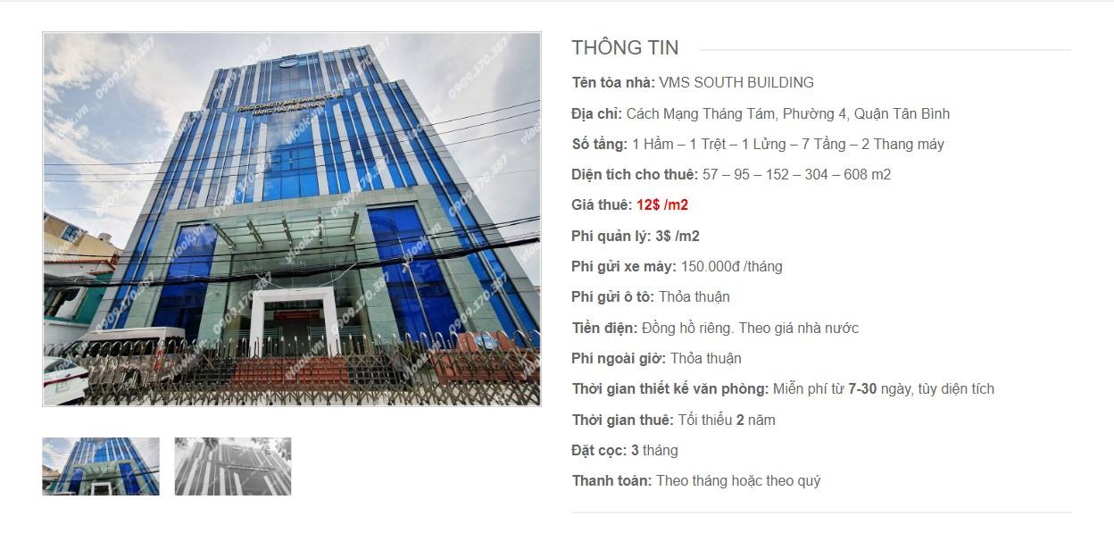 Danh sách các công ty đang thuê văn phòng tại VMS South Building, Cách Mạng Tháng Tám Quận Tân Bình vlook.vn