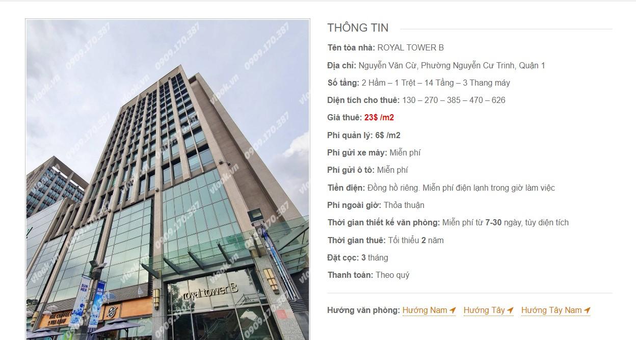 Danh sách các công ty đang thuê văn phòng tại Royal Tower B. Đường Nguyễn Văn Cừ Quận 1 vlook.vn