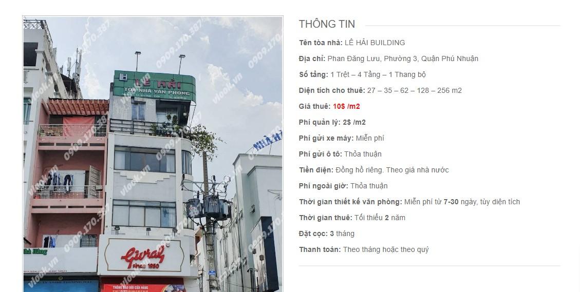 Danh sách các công ty đang thuê văn phòng Lê Hải Building, Phan Đăng Lưu, Quận Phú Nhuận vlook.vn