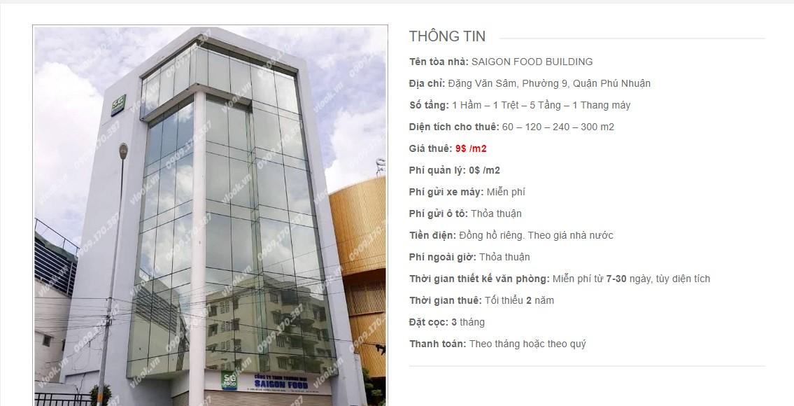 Danh sách các công ty đang thuê văn phòng Saigon Food Building, Đặng Văn Sâm Quận Phú Nhuận vlook.vn