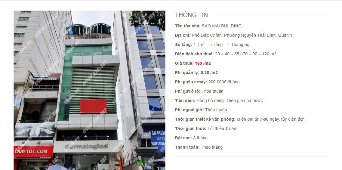 Danh sách các công ty đang thuê văn phòng Sao Mai Building, Phó Đức Chính Quận 1 vlook.vn