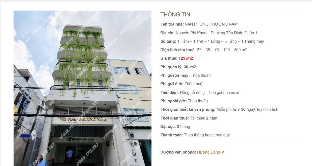 Danh sách các công ty đang thuê văn phòng Phương Nam, Nguyễn Phi Khanh Quận 1 vlook.vn