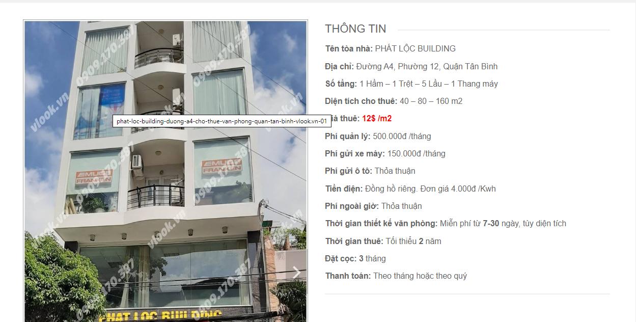 Danh sách các công ty đang thuê văn phòng Phát Lộc Building A4, Đường 4A, Quận Tân Bình vlook.vn