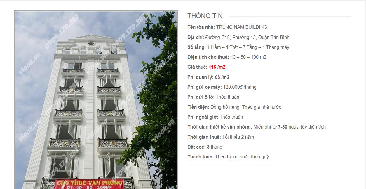 Danh sách các công ty đang thuê văn phòng Trung Nam Building, Đường C18, Quận Tân Bình vlook.vn