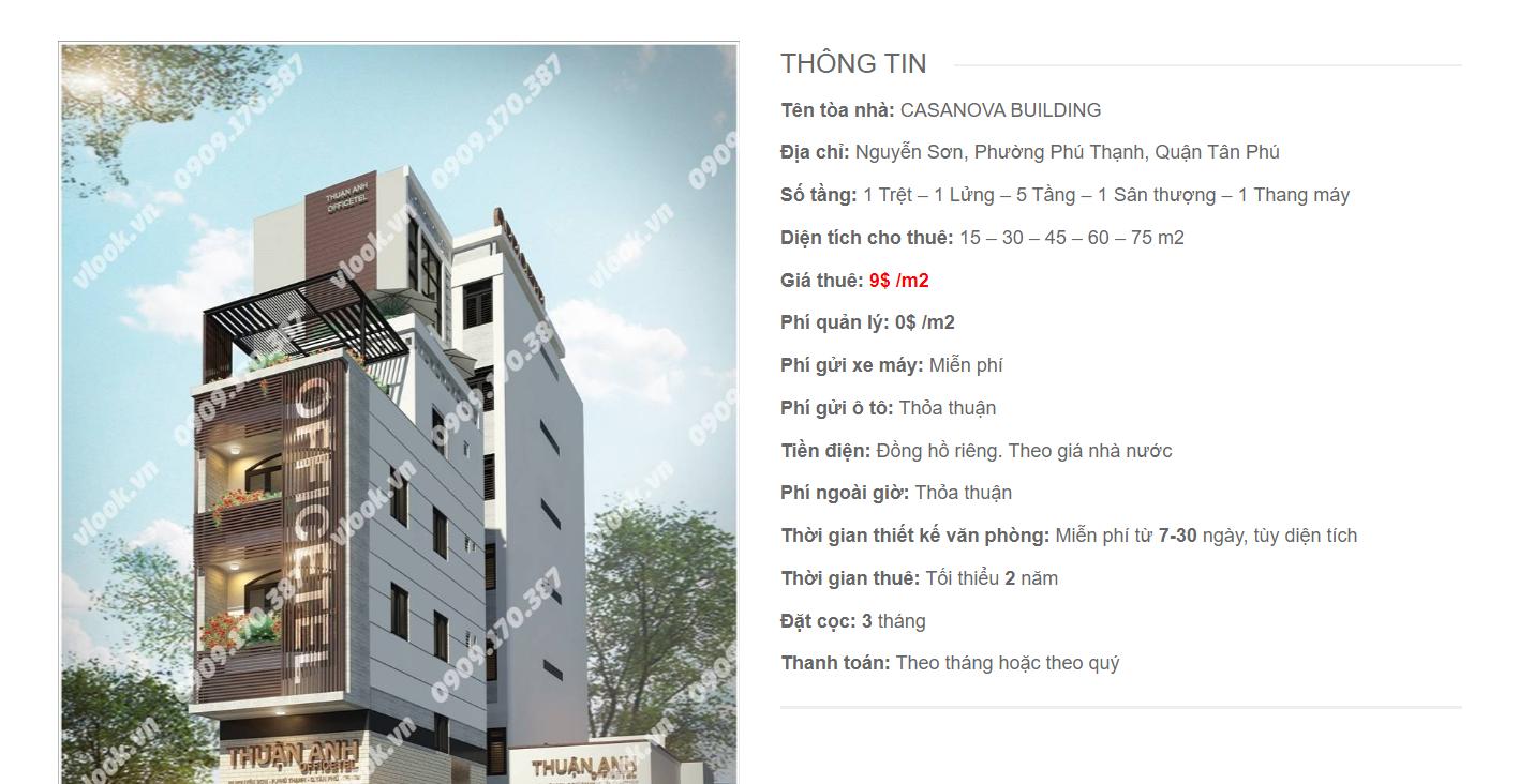 Danh sách công ty tại văn phòng Casanova Building Nguyễn Sơn, Quận Tân Phú - vlook.vn