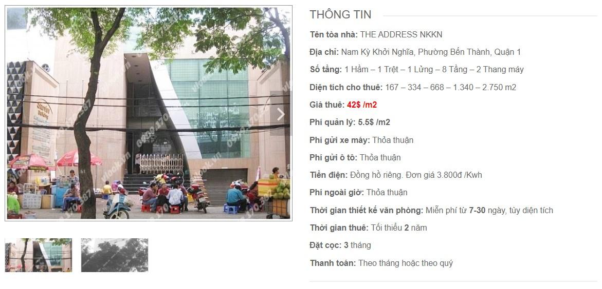 Cao ốc cho thuê văn phòng The Address NKKN, Nam Kỳ Khởi Nghĩa, Quận 1 - vlook.vn
