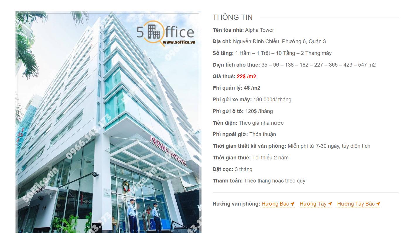 Danh sách công ty tại văn phòng Alpha Tower Nguyễn Đình Chiểu, Quận 3 - vlook.vn