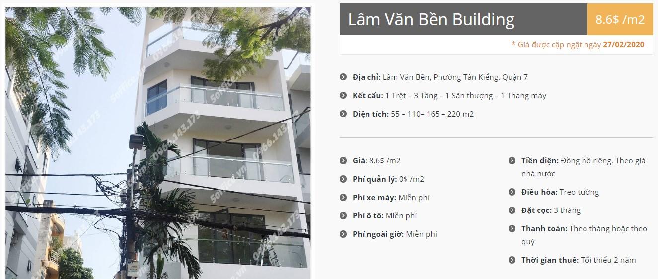 Cao ốc cho thuê văn phòng Lâm Văn Bền Building, Quận 7 - vlook.vn