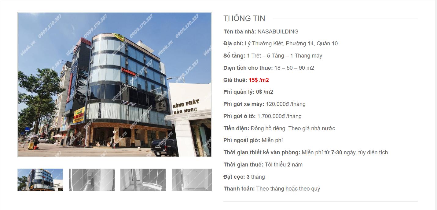 Danh sách công ty tại văn phòng Nasa Building Lý Thường Kiệt, Quận 10 - vlook.vn