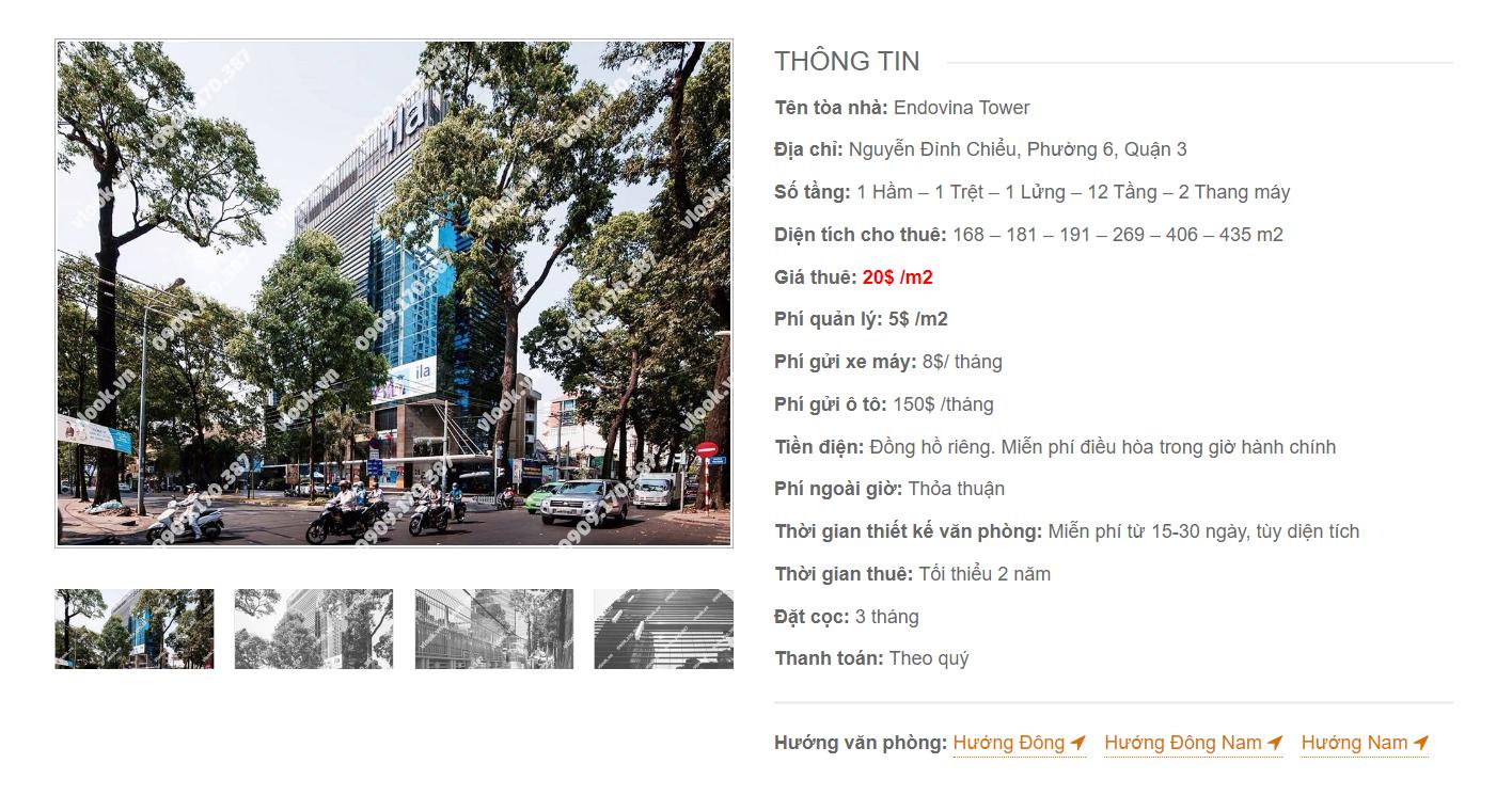 Danh sách công ty tại văn phòng Endovina Tower Nguyễn Đình Chiểu, Quận 3 - vlook.vn