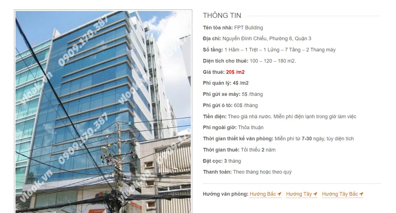Danh sách công ty tại văn phòng FPT Building Nguyễn Đình Chiểu, Quận 3 - vlook.vn