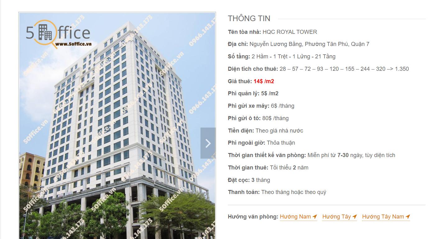 Danh sách công ty thuê văn phòng tại HQC Royal Tower Nguyễn Lương Bằng, Quận 7 - vlook.vn