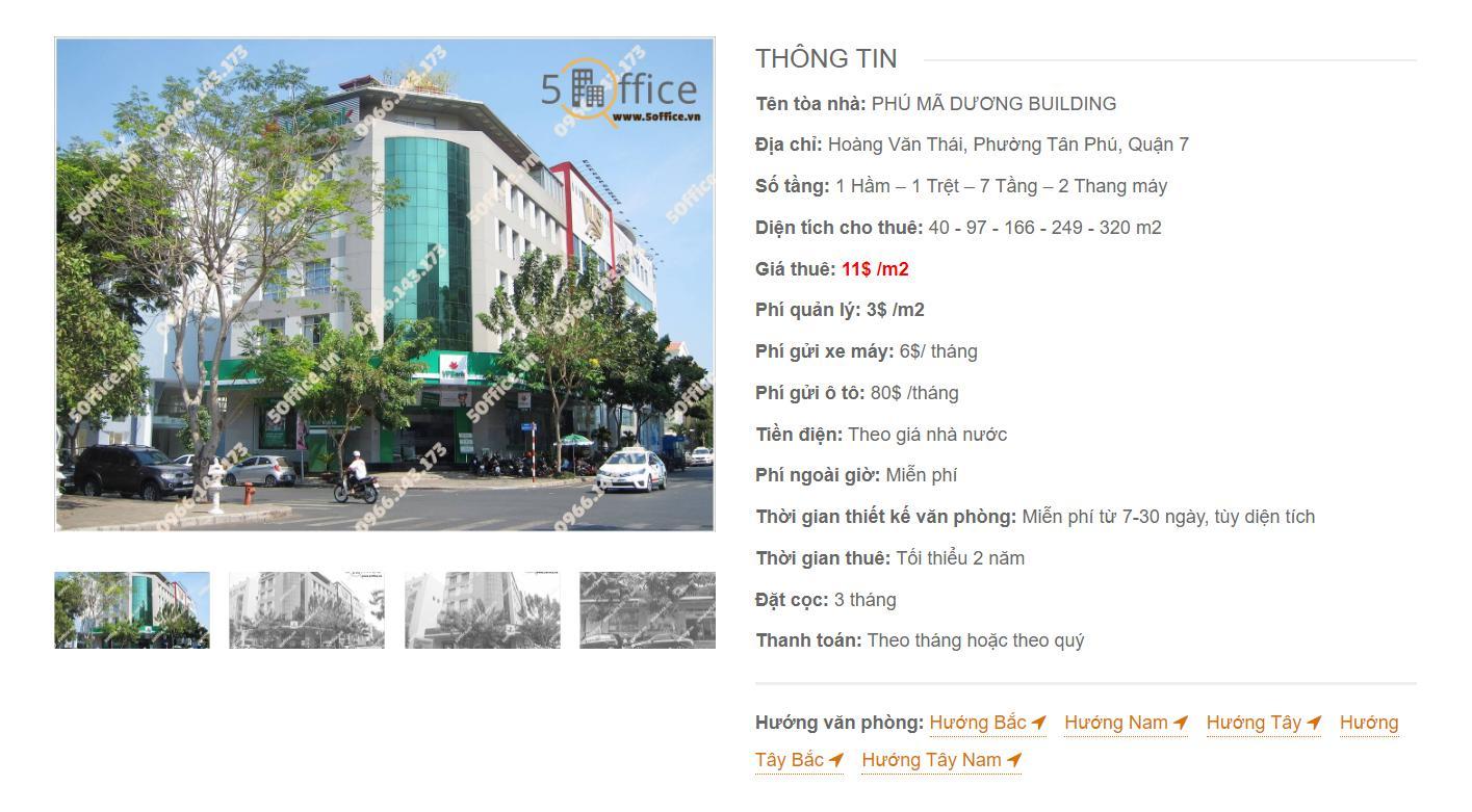 Danh sách công ty thuê văn phòng tại Phú Mã Dương Building Hoàng Văn Thái, Quận 7 - vlook.vn