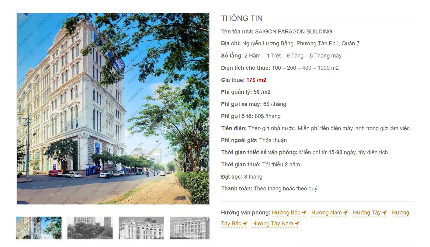 Danh sách công ty thuê văn phòng tại  Saigon Paragon Building Nguyễn Lương Bằng, Quận 7 - vlook.vn