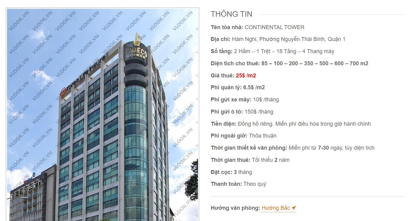 Danh sách công ty tại tòa nhà Continental Tower, Quận 1 - vlook.vn