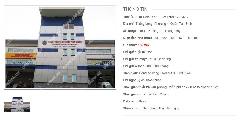 Danh sách công ty tại Sabay Office Thăng Long, Quận Tân Bình - vlook.vn