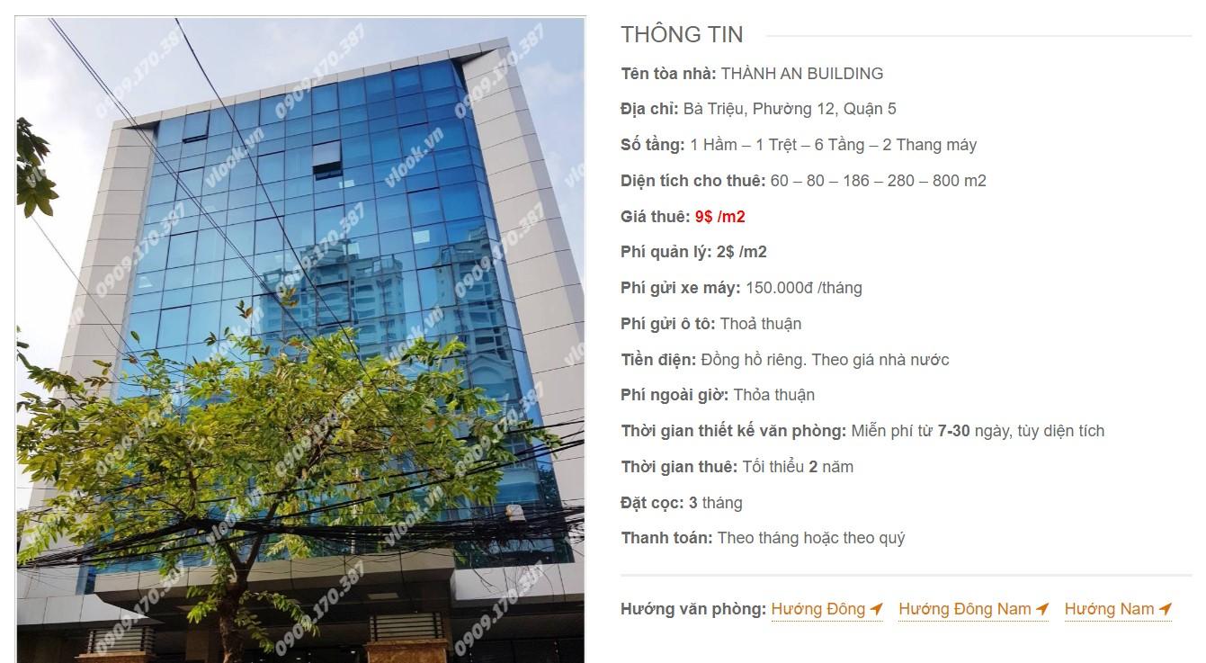Danh sách công ty tại cao ốc Thành An Building, Quận 5 - vlook.vn
