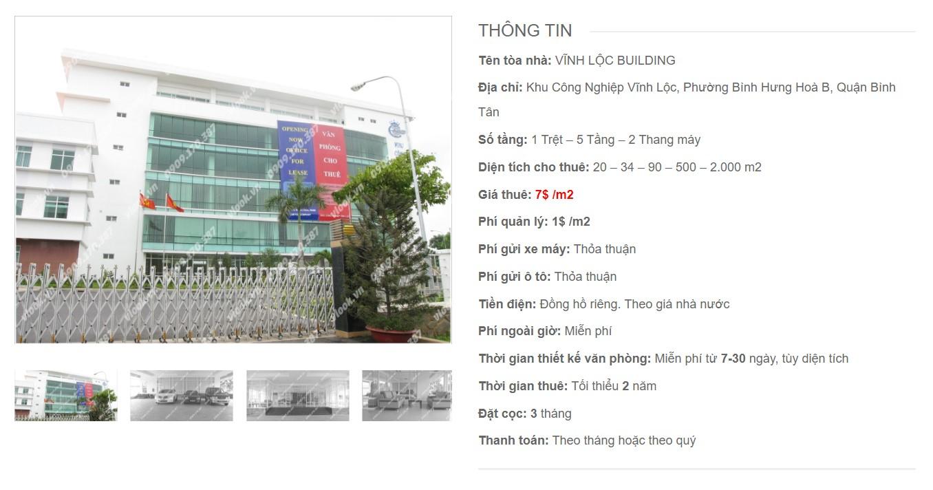 Danh sách công ty tại tòa nhà Vĩnh Lộc Building, Quận Bình Tân - vlook.vn