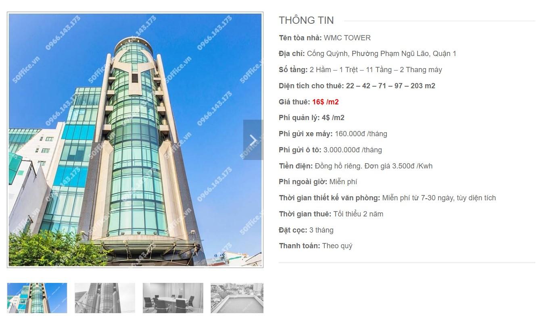 Danh sách công ty tại cao ốc WMC Tower, Quận 1 - vlook.vn