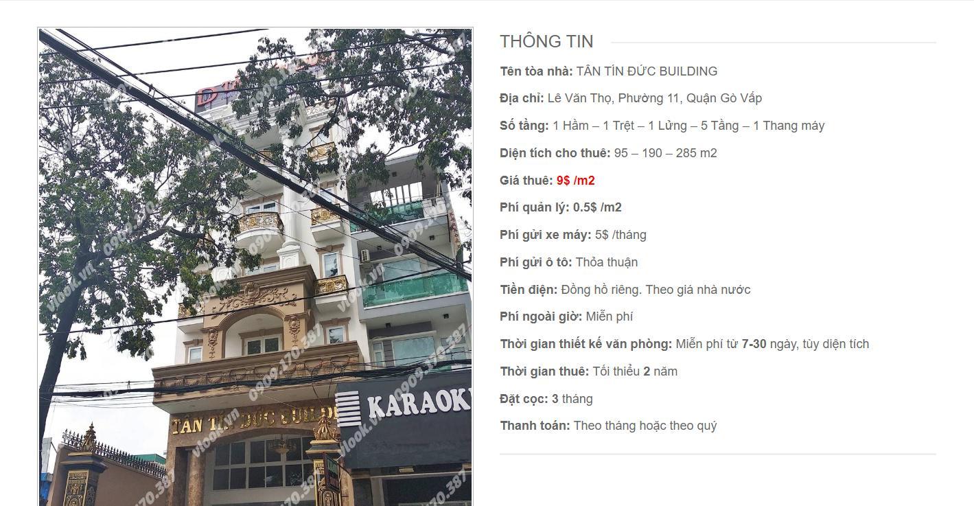 Danh sách công ty thuê văn phòng tại Tân Tín Đức Building Lê Văn Thọ, Quận Gò Vấp - vlook.vn