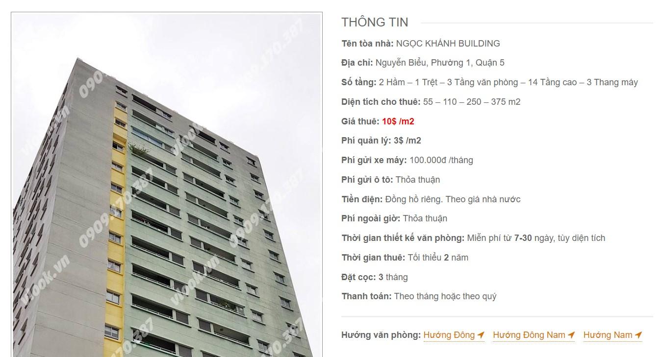 Danh sách công ty thuê văn phòng tại Ngọc Khánh Building, Quận 5 - vlook.vn