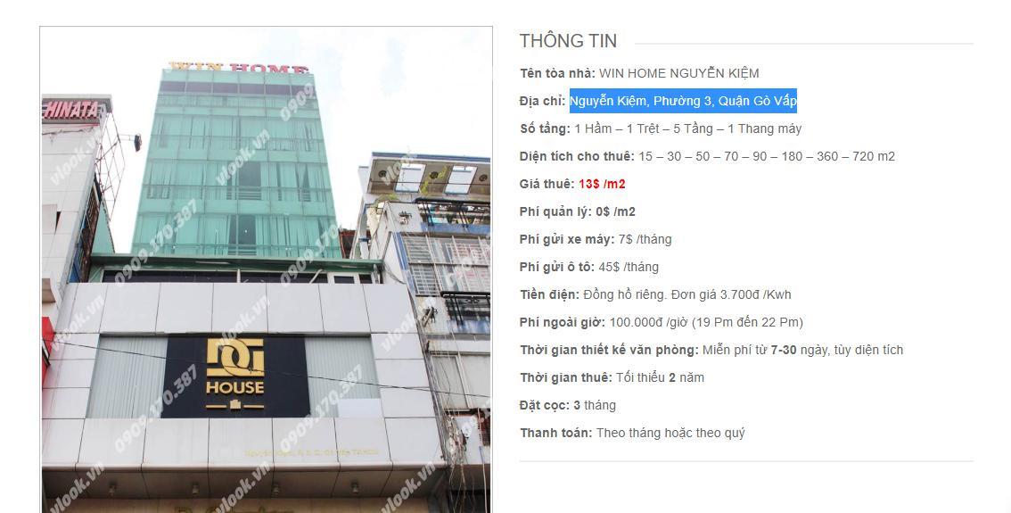 Danh sách công ty thuê văn phòng tại Win Home Nguyễn Kiệm, Quận Gò Vấp - vlook.vn