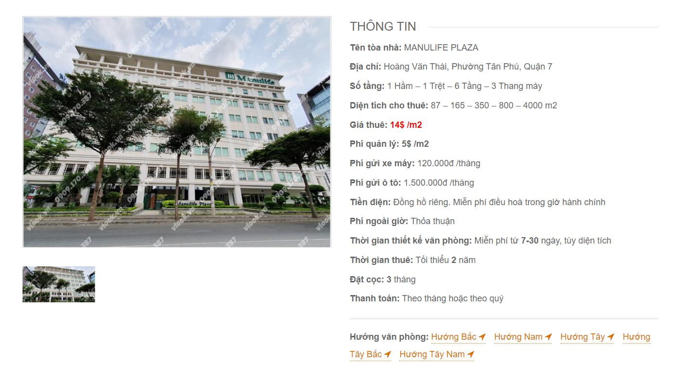 Danh sách công ty thuê văn phòng tại Manulife Plaza Hoàng Văn Thái Quận 7 - vlook.vn