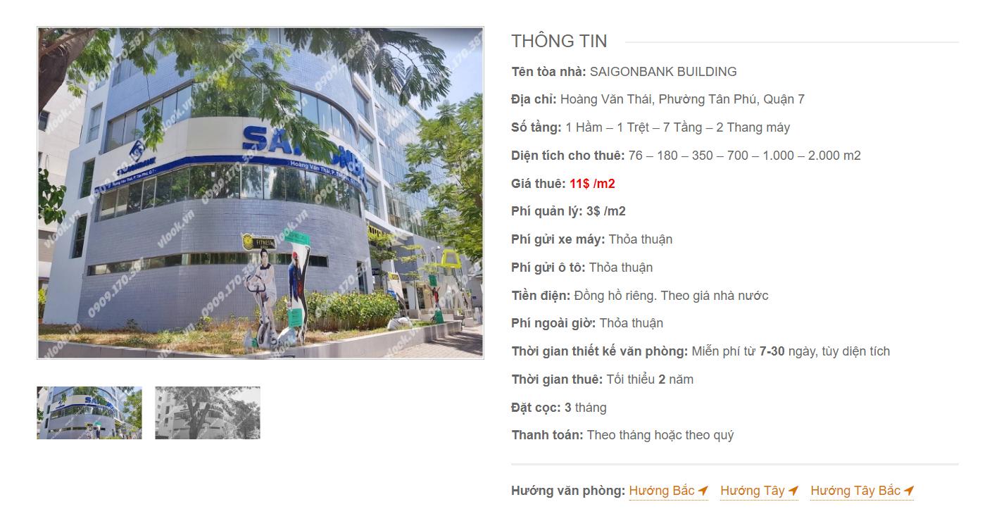 Danh sách công ty thuê văn phòng tại Saigon Bank Building Hoàng Văn Thái, Quận 7 - vlook.vn