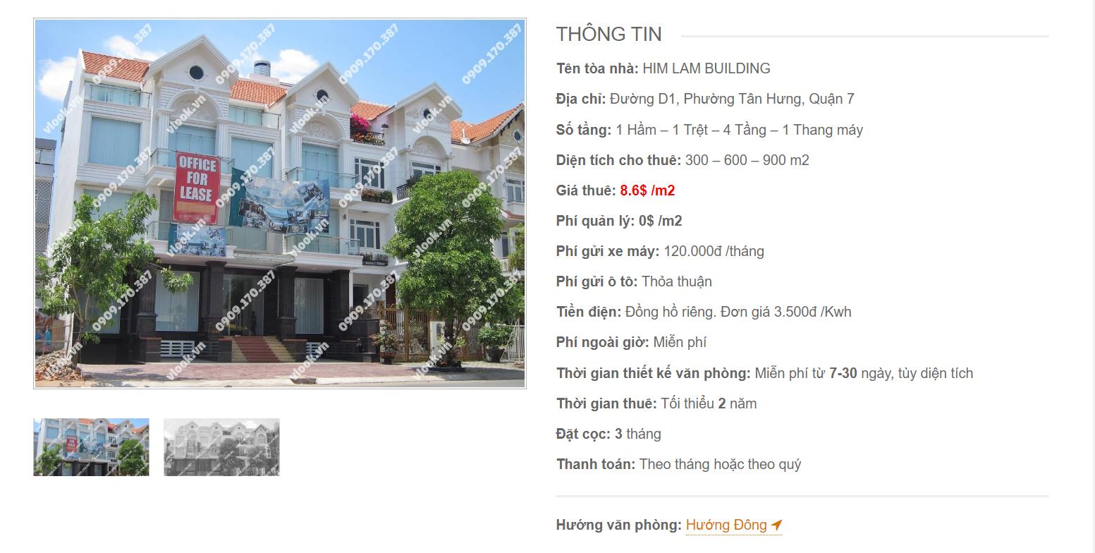 Danh sách công ty thuê văn phòng tại Him Lam Building Đường D1 Quận 7 - vlook.vn