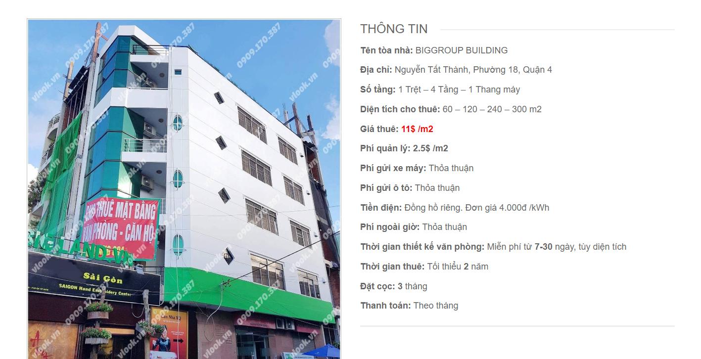 Danh sách công ty tại tòa nhà Biggroup Building Nguyễn Tất Thành, Quận 4