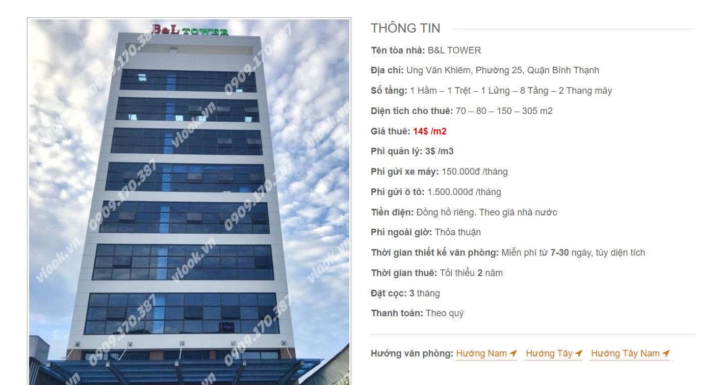 Danh sách công ty tại tòa nhà B&L Tower, Ung Văn Khiêm , Quận Bình Thạnh