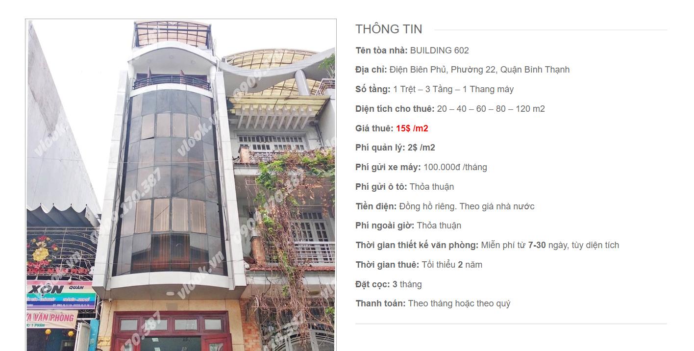 Danh sách công ty tại tòa nhà Building 602, Điện Biên Phủ, Quận Bình Thạnh