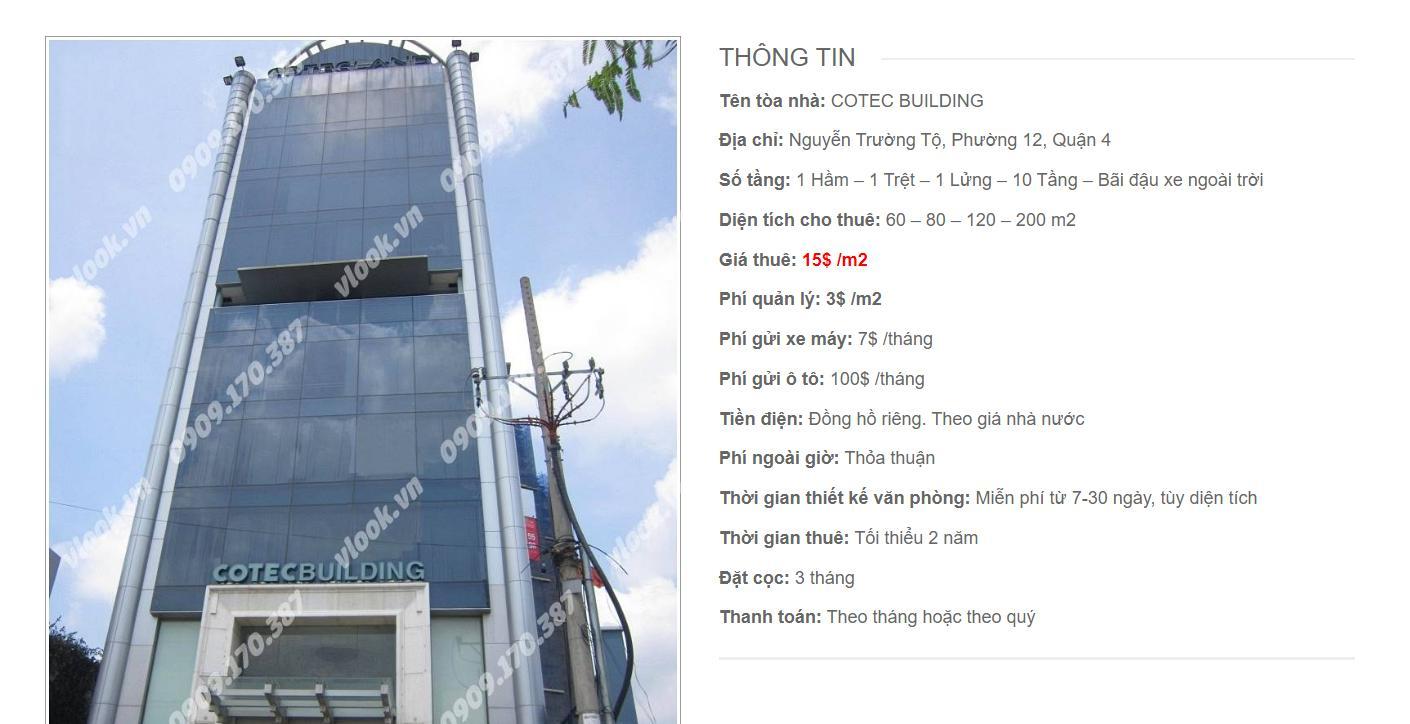 Danh sách công ty thuê văn phòng tại Cotec Buidling Nguyễn Trường Tộ, Quận 4