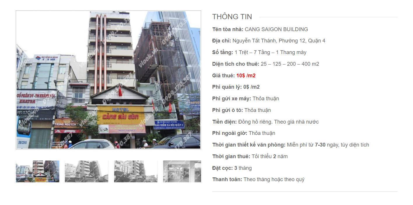 Danh sách công ty thuê văn phòng tại Cang Saigon Building, Nguyễn Tất Thành, Quận 4