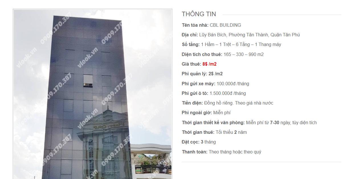 Danh sách công ty tại tòa nhà CBL Building Lũy Bán Bích, Quận Tân Phú - vlook.vn