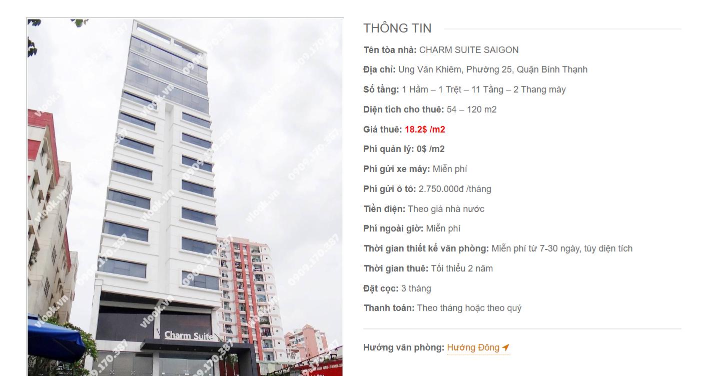 Danh sách công ty tại tòa nhà Charm Suite Saigon, Ung Văn Khiêm, Quận Bình Thạnh