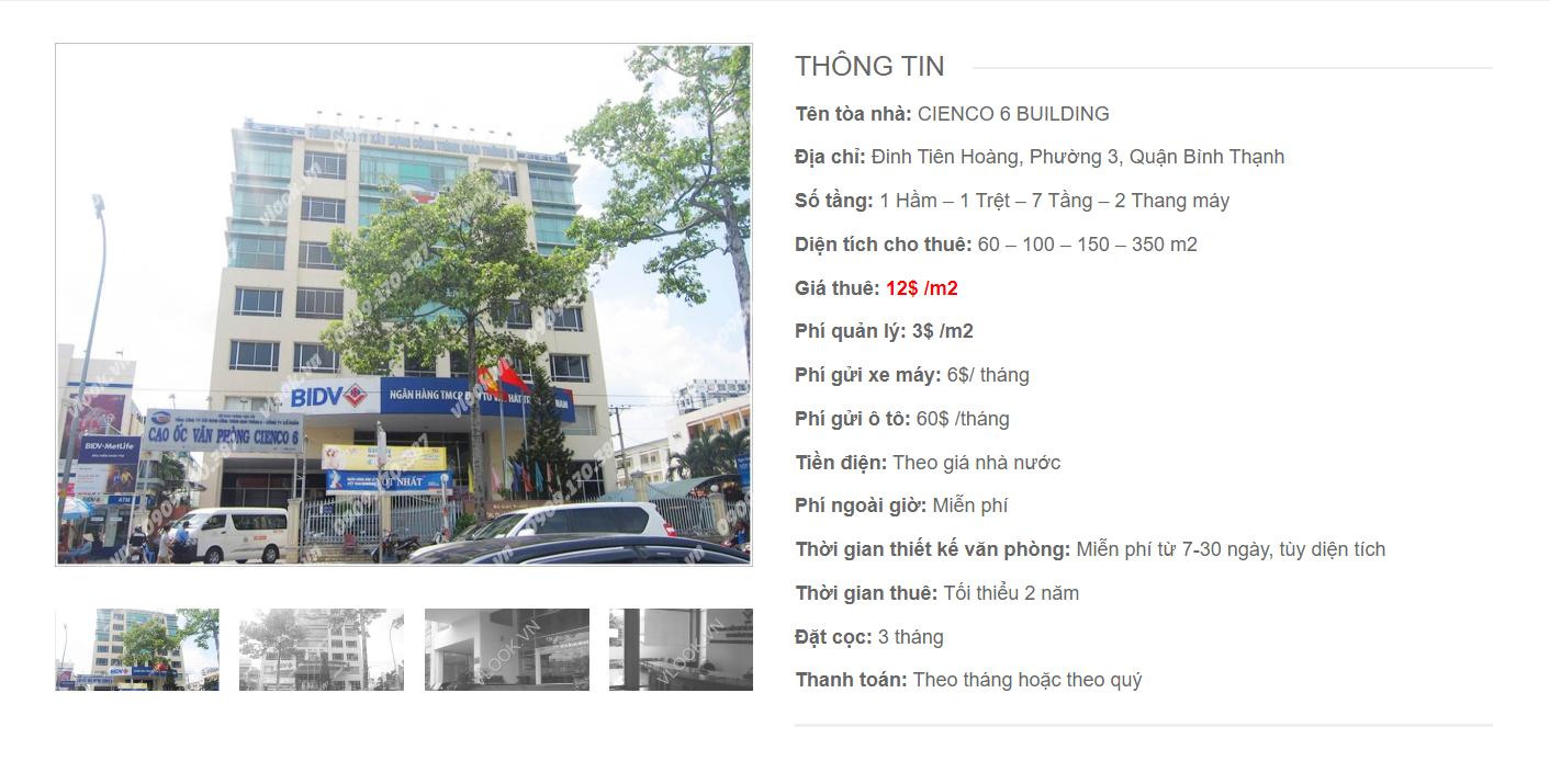 Danh sách công ty tại tòa nhà Cienco 6 Building Đinh Tiên Hoàng, Quận Bình Thạnh