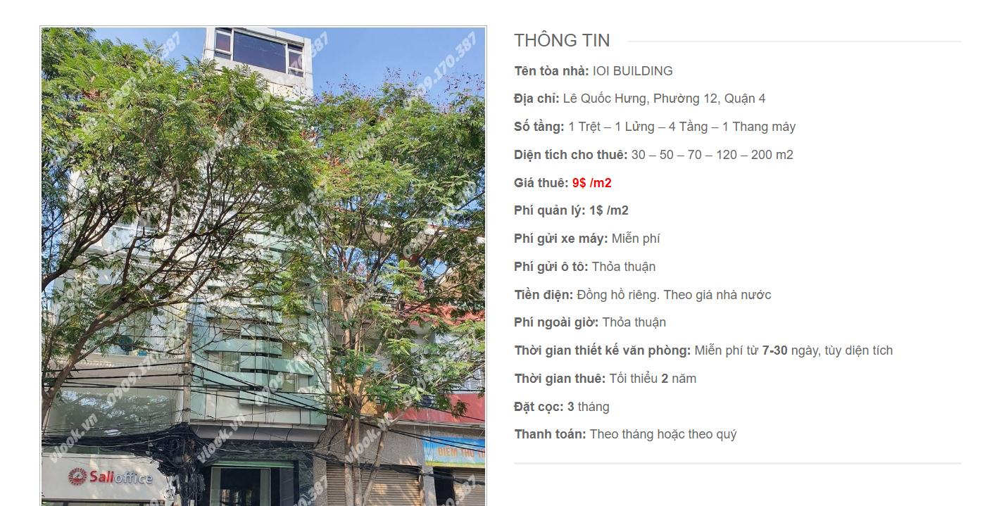 Danh sách công ty thuê văn phòng tại IOI Building Lê Quốc Hưng, Quận 4