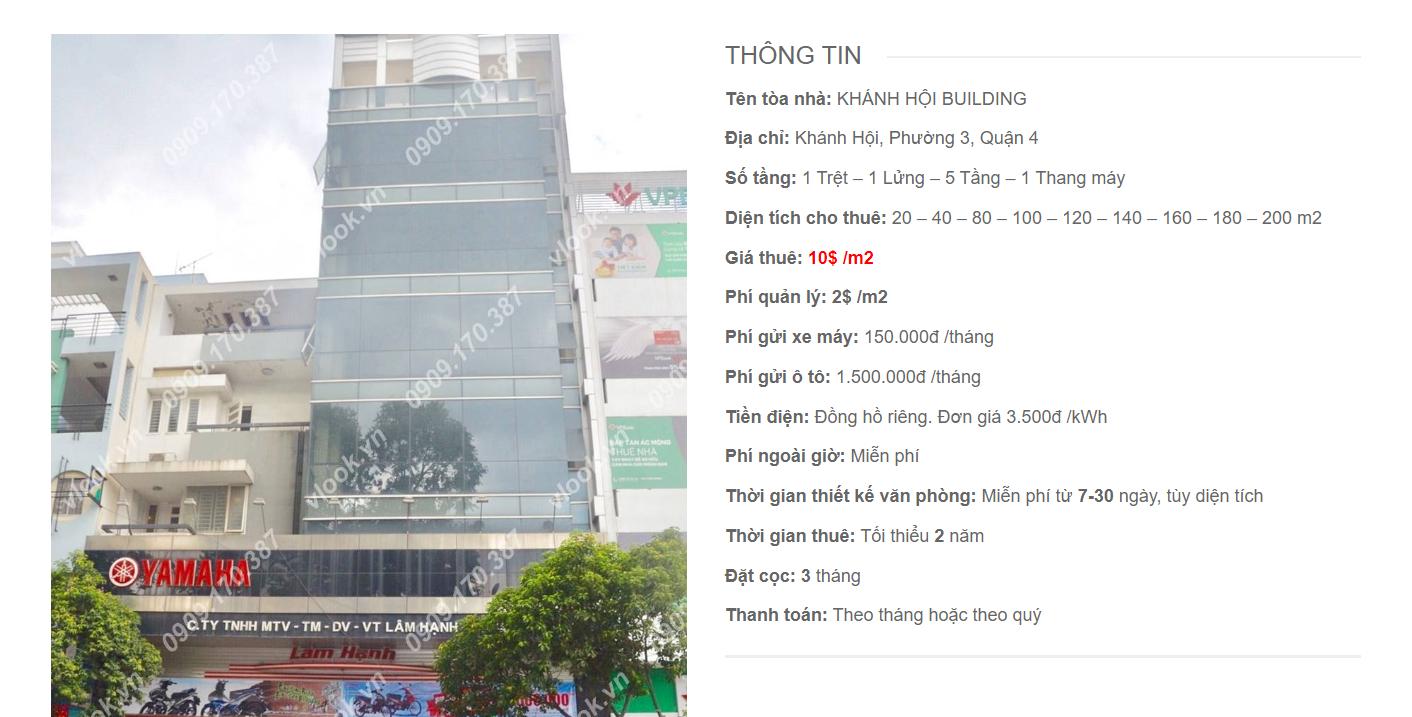 Danh sách công ty thuê văn phòng tại Khánh Hội Building¸, Quận 4