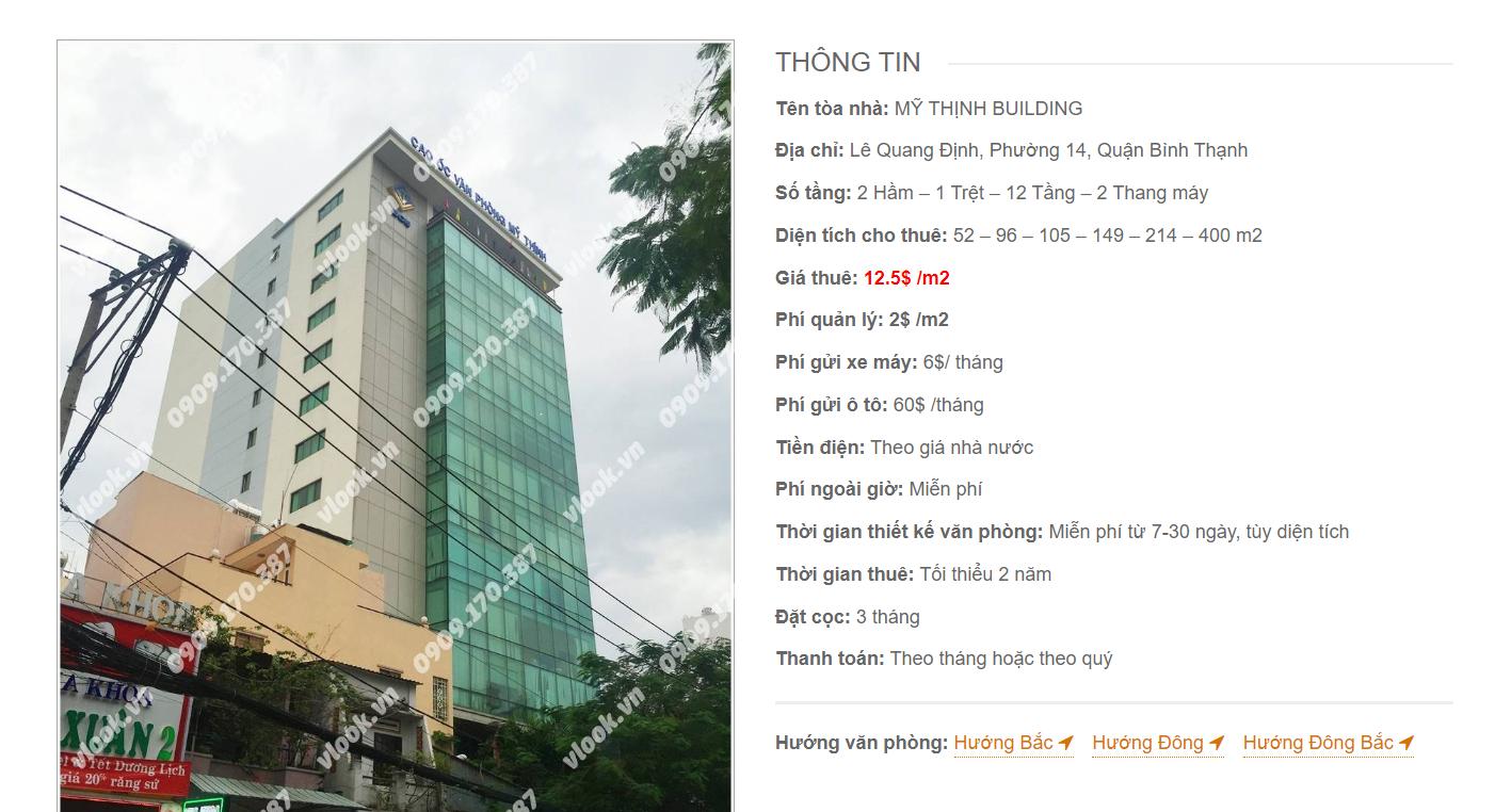 Danh sách công ty tại tòa nhà Mỹ Thịnh Building, Lê Quang Định, Quận Bình Thạnh