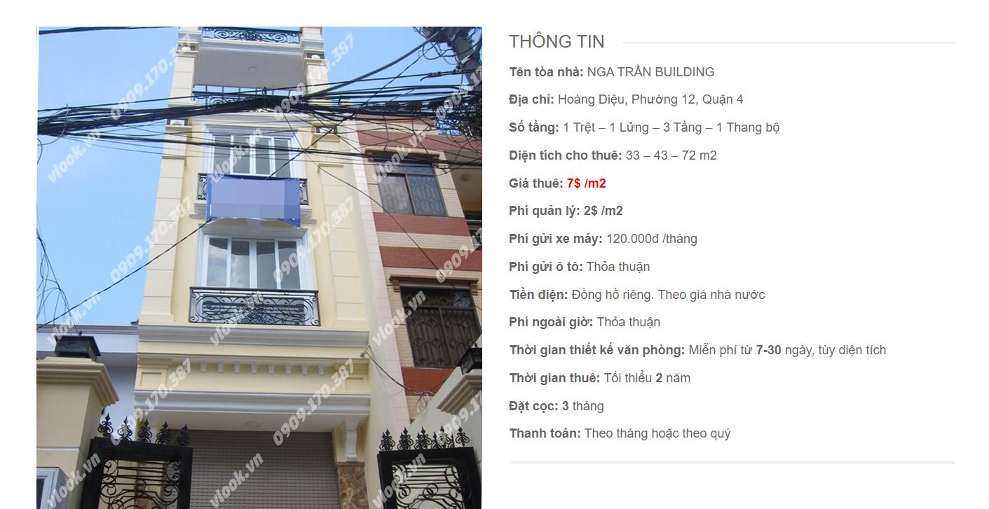 Danh sách công ty thuê văn phòng tại Nga Trần Building, Hoàng Diệu, Quận 4