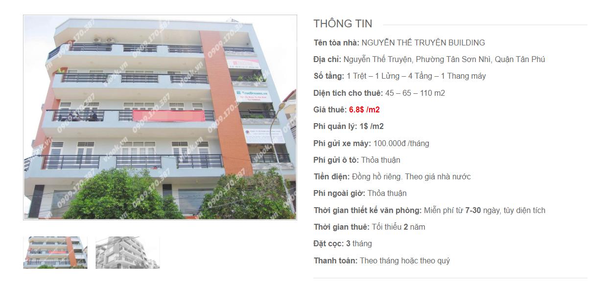 Danh sách công ty tại tòa nhà Nguyễn Thế Truyện Building Quận Tân Phú - vlook.vn