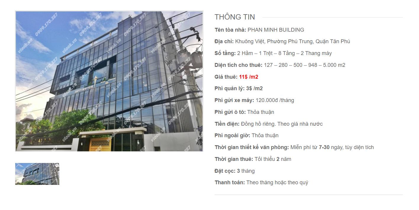 Danh sách công ty tại tòa nhà Cao ốc Phan Minh Building, Khuông Việt, Quận Tân Phú