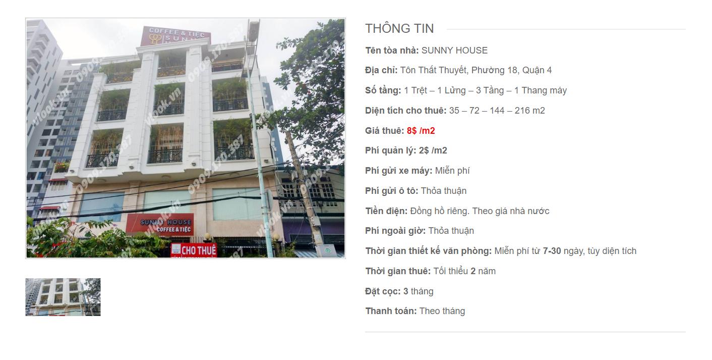 Danh sách công ty tại tòa nhà Sunny House, Tôn Thất Thuyết, Quận 4