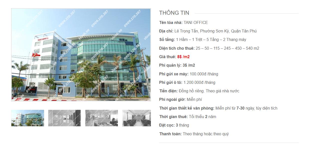 Danh sách công ty tại tòa nhà Tani Office Lê Trọng Tấn, Quận Tân Phú - vlook.vn