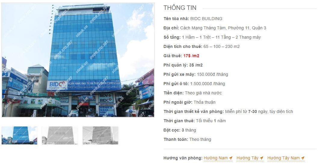 Danh sách công ty tại tòa nhà BIDC Building, Quận 3