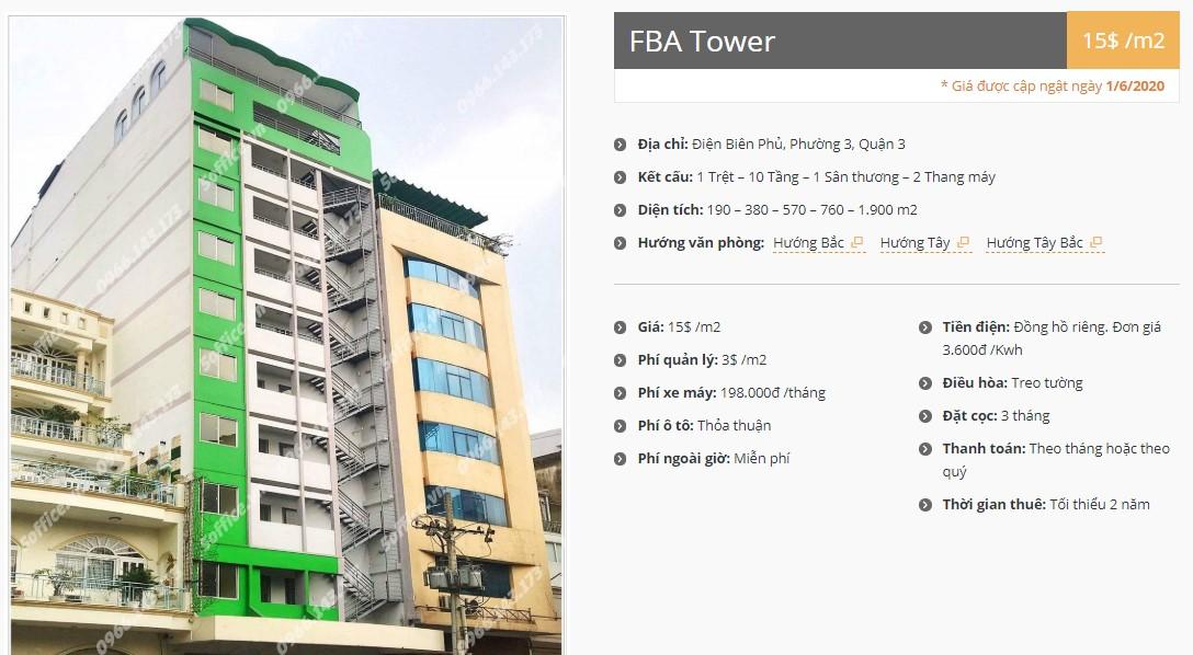 Danh sách công ty tại tòa nhà FBA Tower, Quận 3